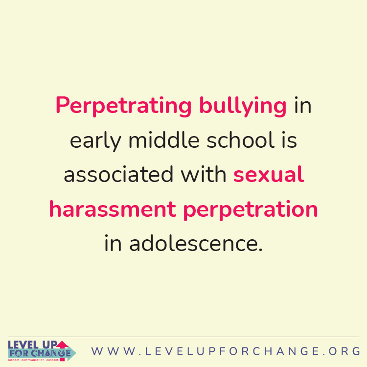 14.Perpetrating bullying in early middle school is associated with sexual harassment perpetration in adolescence.